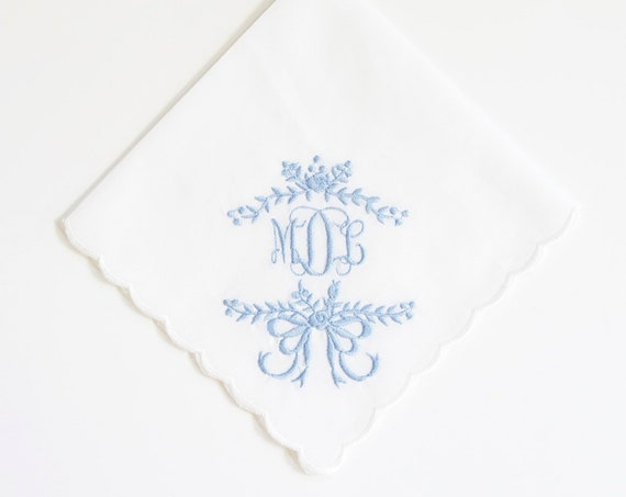 SOMETHING BLUE design and font Embroidered Monogrammed Handkerchief, wedding hankie