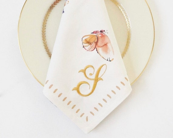 FRENCH DESIGNED BOTANICAL Monogrammed Embroidered Napkins
