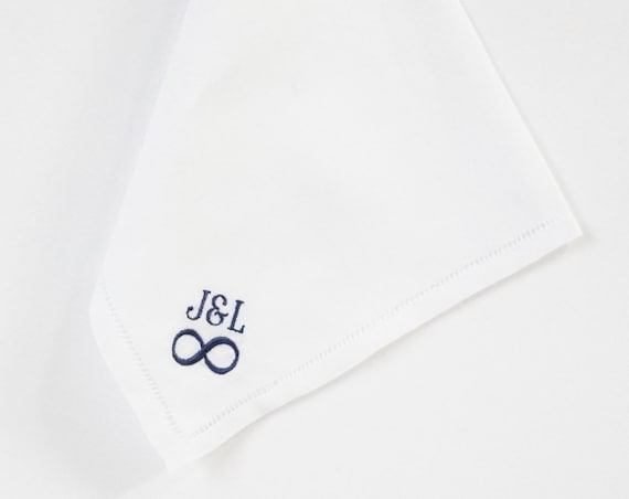 COUPLES INFINITY DESIGN and Monogram  Embroidery for the Bride and Groom on Ladies Wedding Handkerchief