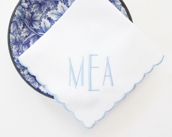 NEW YORKER font Embroidered Monogrammed Handkerchief, Personalized Custom Handkerchief