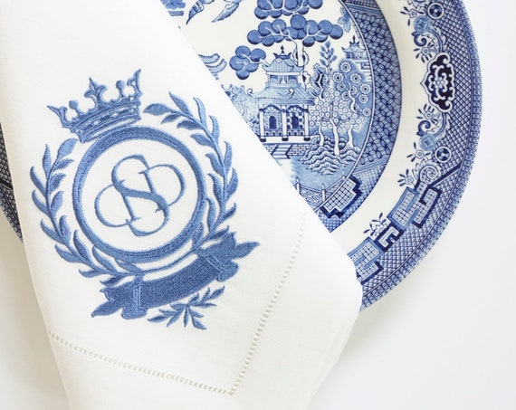 Laurel Wreath & Crown Monogram Design Embroidered Dinner Napkins, Hand Towels - Wedding Keepsake for Special Occasions