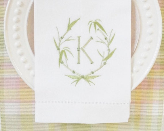 BAMBOO WREATH MONOGRAM Embroidered Table Linens