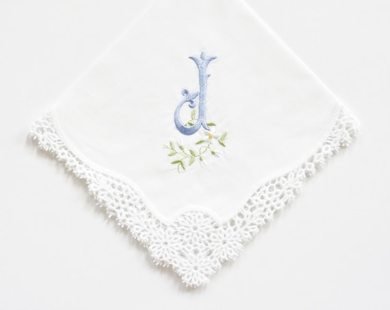 FLEUR font design Embroidered Monogrammed Handkerchief, Personalized Custom Handkerchief