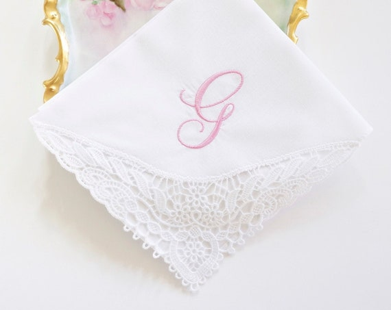 LILY FONT Embroidered Monogrammed Handkerchief, Personalized Custom Handkerchief, Wedding, Bridal, Bridal Party Hankie,