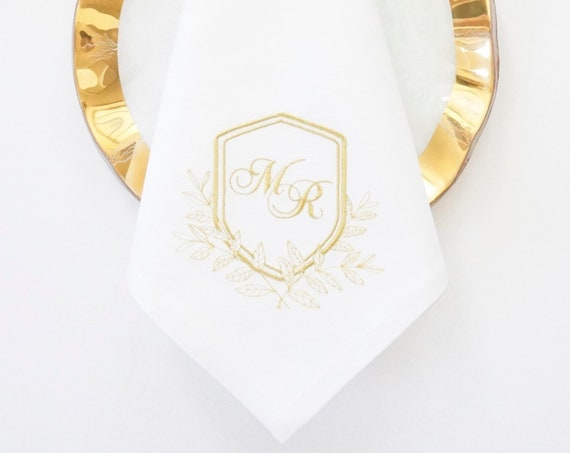 CLASSIC TUSCAN CREST Monogram on Embroidered Linens