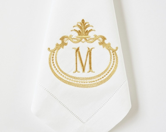 FRENCH ANTIQUE FRAME with Monogram Embroidered Cotton or Linen Dinner Napkins, Hand Towels - Wedding Keepsake for Special Occasions