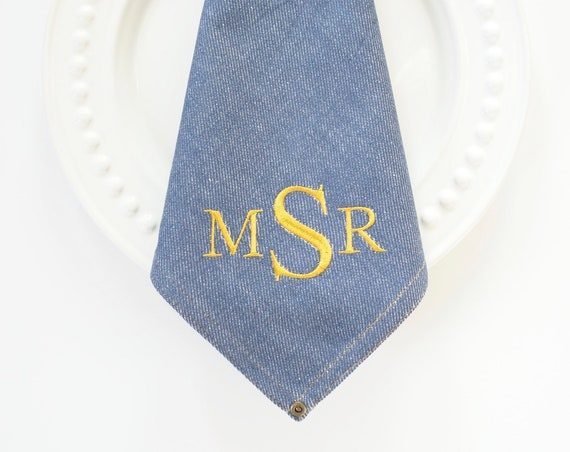 DENIM MONOGRAMMED NAPKINS