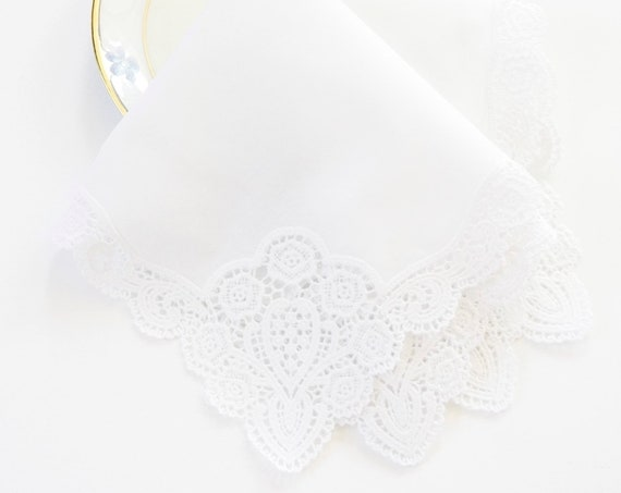 FLORAL LACE HANDKERCHIEF, Bridal, Wedding, Mother of the Bride, Bridesmaid Handkerchief