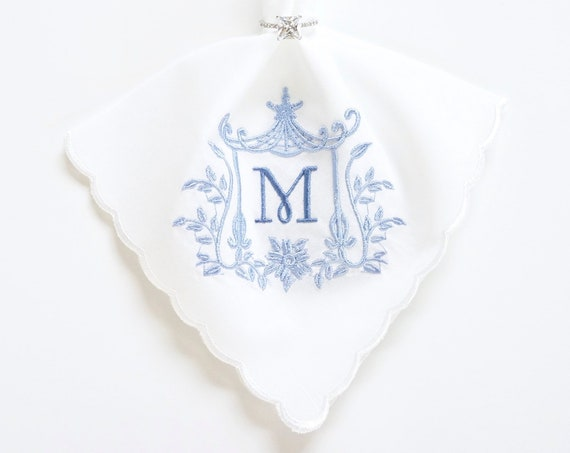PAGODA IV Monogram design and font Embroidered Monogrammed Handkerchief, Personalized Custom Handkerchief