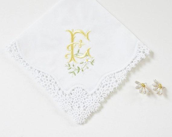 DAISY font design Embroidered Monogrammed Handkerchief, Personalized Custom Handkerchief
