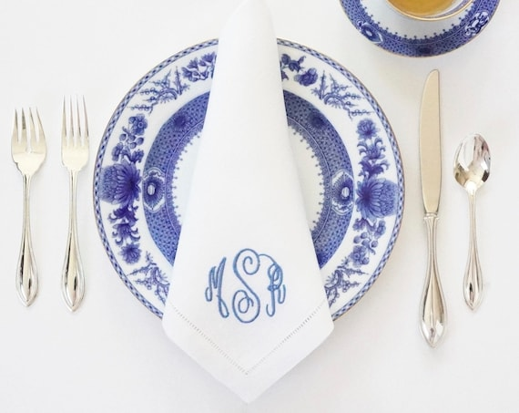 Custom HAND WRITTEN FONT Monogram Embroidered on Fabric Cloth Napkins, Towels and Linens, Wedding Napkins