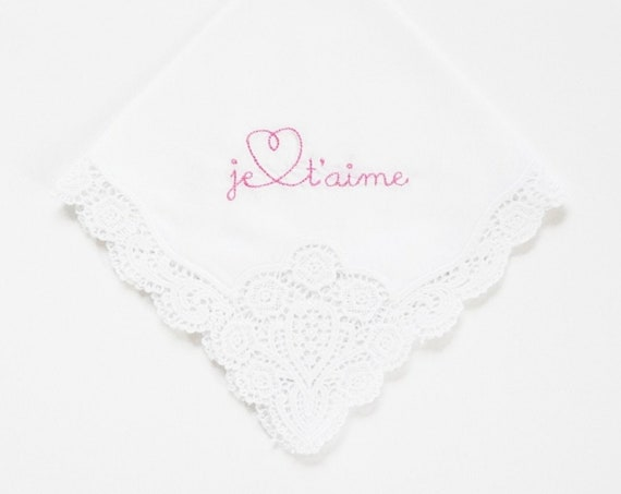LADIES JE T'AIME Design Embroidered Monogrammed Handkerchief, Personalized Custom Handkerchief
