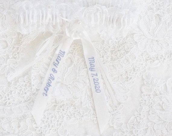 Lace Wedding Garter Set, Personalized Embroidered Ribbon with names and dates or custom words