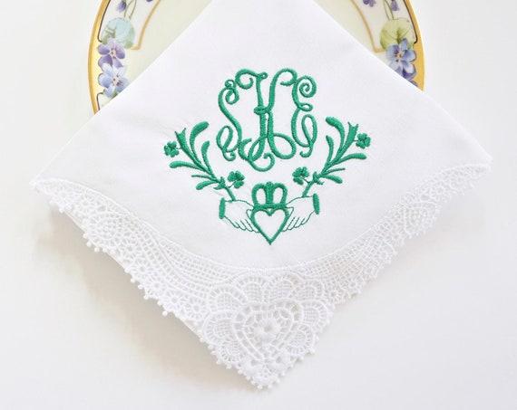CLADDAGH DESIGN and MONOGRAM Embroidered Handkerchief, Custom Wedding Hankie, Bride handkerchief, Groom pocket square
