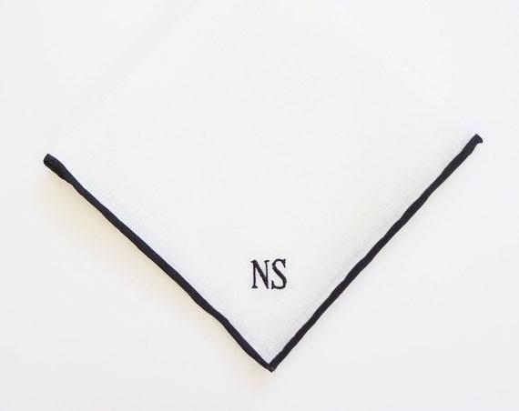 MENS COLOR BORDER Linen Handkerchief