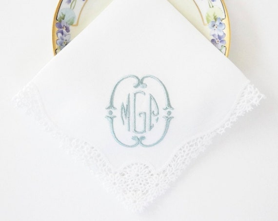 ROMANTIC CHIC MONOGRAM frame and font Embroidered Monogrammed Handkerchief, Weddings, Bride, Bridesmaids, Gifts