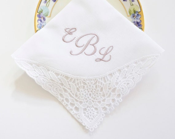 PEONY FONT Embroidered Monogrammed Handkerchief, Personalized Custom Handkerchief, Wedding, Bridal, Bridal Party Hankie,