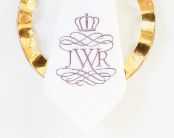 ESTATE Monogram Custom Embroidered Napkins