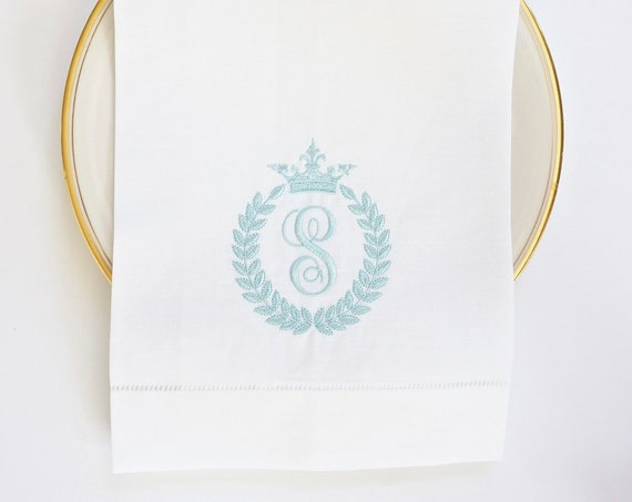 BEE & CROWN No Bee Monogram Embroidered Dinner Napkins, Linen Towels, wedding or hostess gift, bridal shower gift, kitchen towels