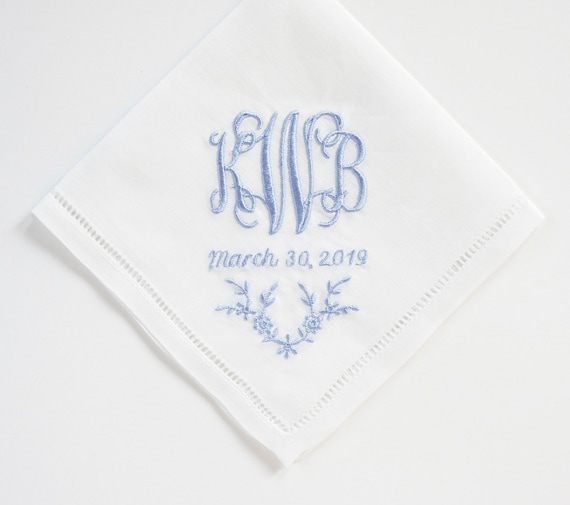 SCROLL II font with Add-On Floral choice, Embroidered Monogrammed Handkerchief, Personalized Custom Handkerchief