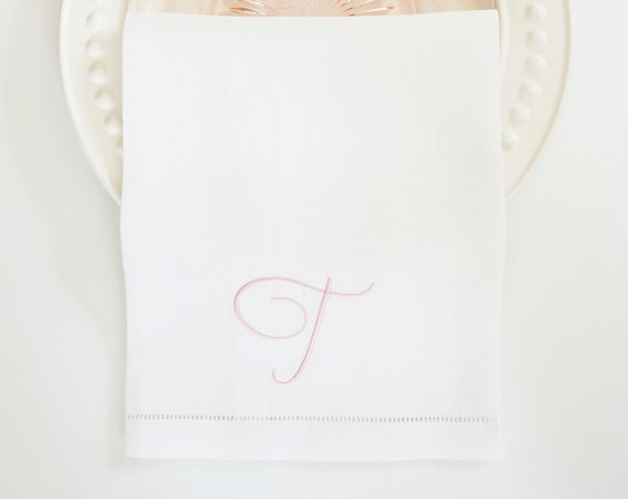 SWEET PEA Monogram with Ampersand Embroidered Cloth Dinner Napkins and Guest Hand Towels - Wedding Keepsake for Special Occasions