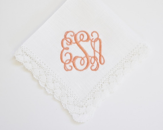 SCROLL II font Embroidered Monogrammed Handkerchief, Personalized Custom Handkerchief