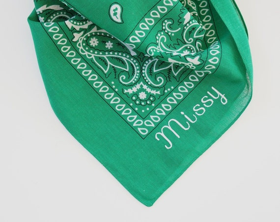 Personalized Monogrammed Large Dog Bandanas, Embroidered Pet Scarf, Free Shipping