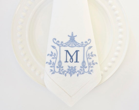PAGODA IV MONOGRAM Embroidered Dinner Napkins, Linen Towels, wedding or hostess gift, bridal shower gift, kitchen towels