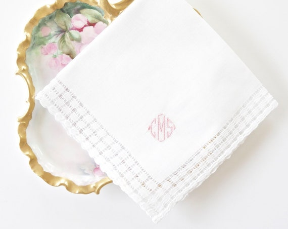 DIAMOND II font Embroidered Monogrammed Handkerchief, Personalized Custom Handkerchief