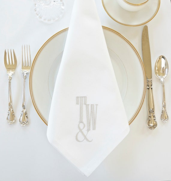 ENGRAVED Monogram with AMPERSAND Embroidered Cloth Dinner Napkins and Guest Hand Towels - Wedding Keepsake for Special Occasions
