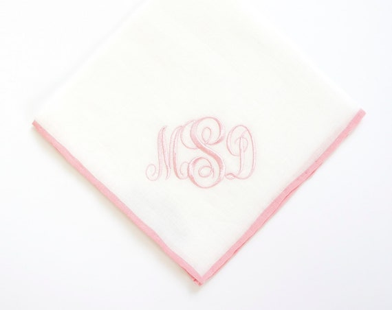 LADIES COLOR BORDER Linen Handkerchief, Custom Monogrammed Hankie, gift hanky