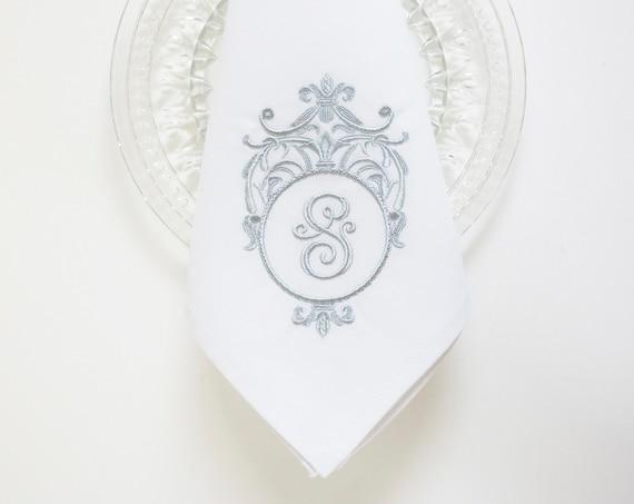 STERLING SILVER FRAME Monogram Design Embroidered Cloth Dinner Napkins, Hand Towels, Wedding Keepsake for Special Occasion, Couples Monogram