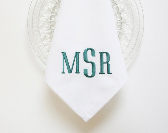 COUNTRY HOUSE MONOGRAM Font Embroidered Cloth Dinner Napkins and Linen Towels, Wedding Napkins