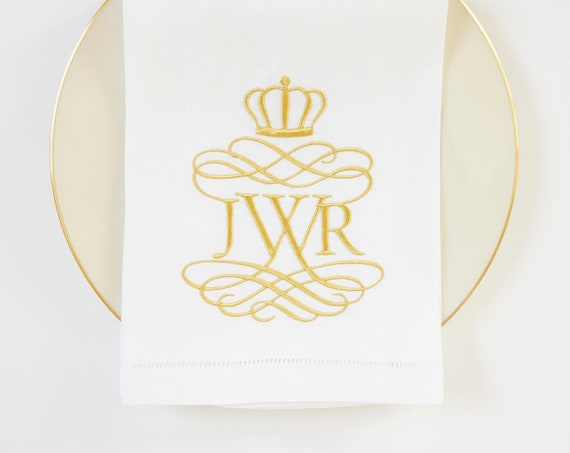 ESTATE Monogram Embroidered Linens, Cotton or Linen fabric wedding napkins