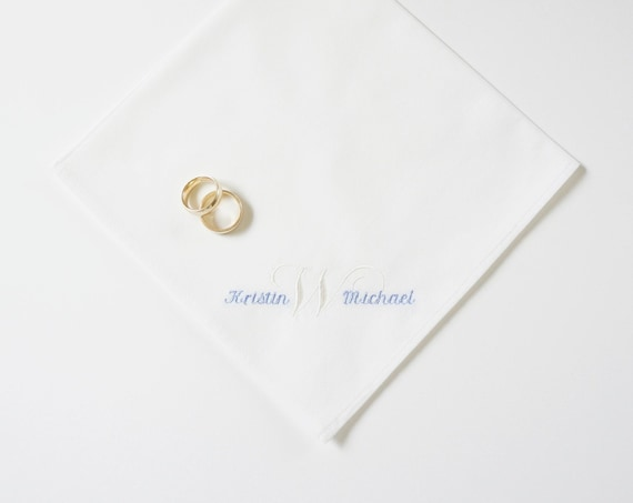 MENS BRIDE & GROOM and Surname Initial Embroidered Monogrammed Handkerchief, for Groom or Husband, gift for men