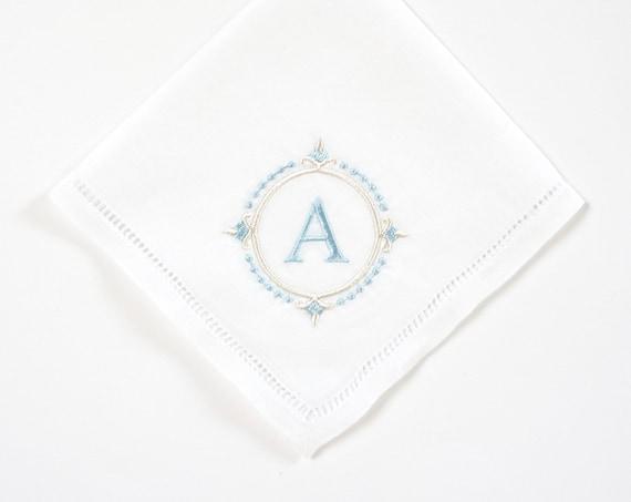 Compass Monogram Handkerchief, Personalized Bridal Handkerchief, Wedding Handkerchief