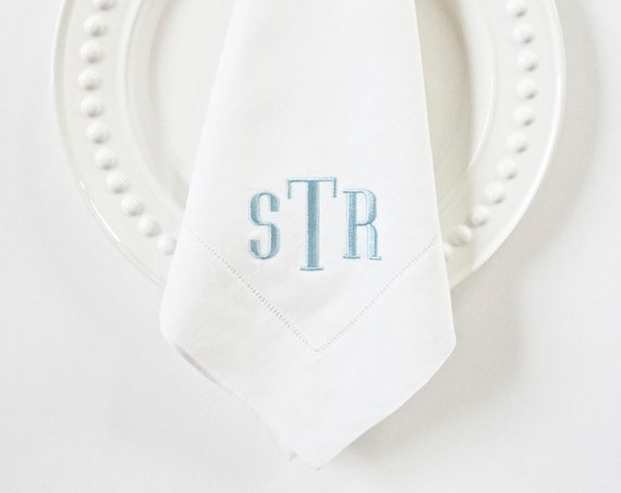 COUNTRY HOUSE Monogram Embroidered on Napkins and Linens