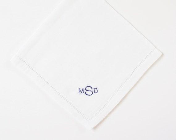 MENS MONOGRAM Chart III fonts Embroidered Monogrammed Handkerchief