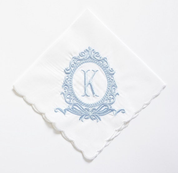 ROCOCCO design and font Embroidered Monogrammed Handkerchief, Personalized Custom Handkerchief
