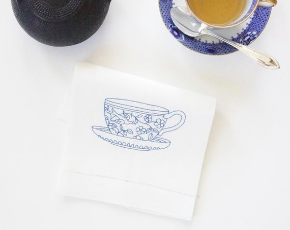 EMBROIDERED TEACUP DESIGN on Tea Towels, Linen Hemstitched Towels, Housewarming Gift, Shower Gift