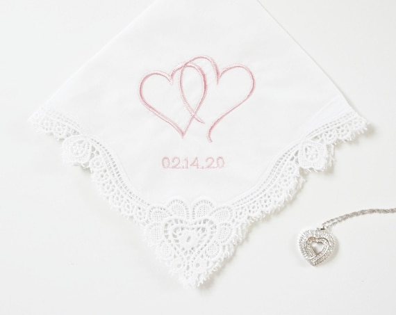 Two Hearts One Love, Two Hearts Together, Ladies Embroidered Monogrammed Handkerchief, Wedding Handkerchief, Personalized Handkerchief
