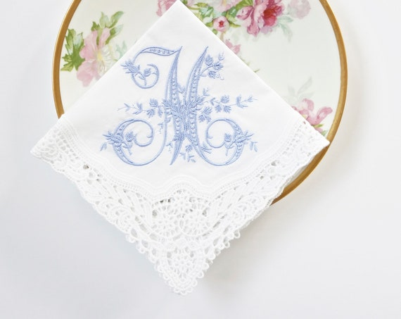 VINTAGE font Embroidered Monogrammed Handkerchief, Personalized Custom Handkerchief, hanky