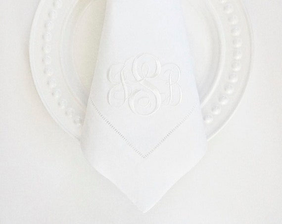 SCROLL I Monogram Embroidered Dinner Napkins and Guest Hand Towels - Wedding Keepsake for Special Occasions