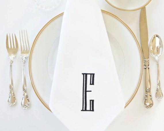 ENGRAVED Monogram Embroidered Dinner Napkins and Hand Towels, Event Napkins, Wedding Napkins, Family Heirloom
