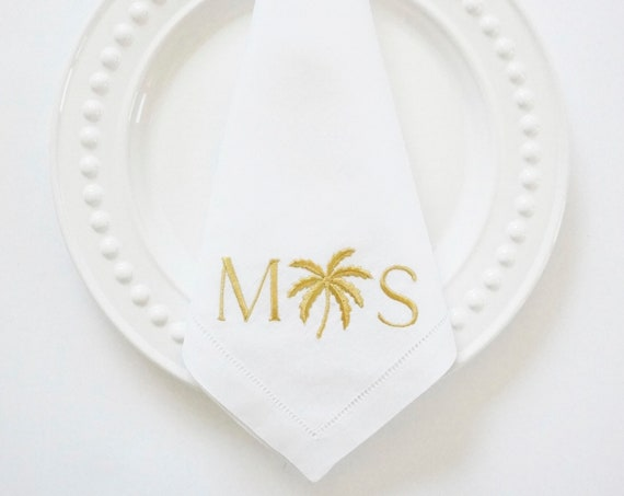 PALM TREE Design & Monogram Embroidered Dinner Napkins, Linen Towels, wedding or hostess gift, bridal shower gift, kitchen towels