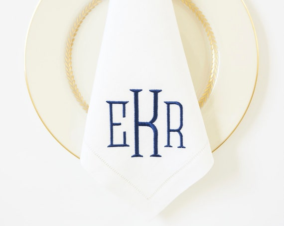 METRO Monogram Embroidered Napkins and Linens, Event and Wedding Cloth Napkins