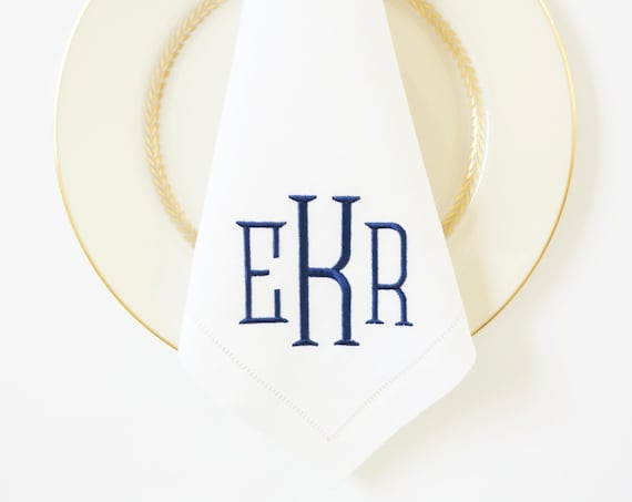 METRO Monogram Font Embroidered Napkins and Linens
