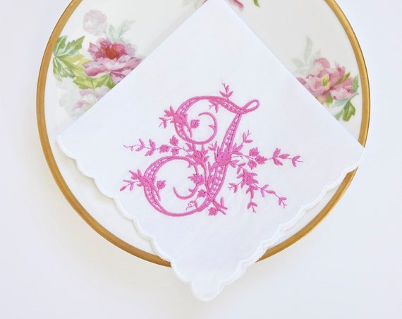 VINTAGE font Embroidered Monogrammed Handkerchief, Personalized Custom Handkerchief
