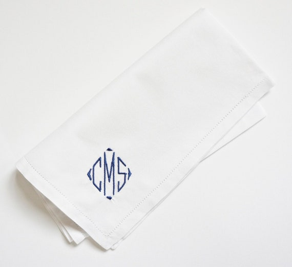 MENS CLASSIC DIAMOND Font Embroidered Monogrammed Handkerchief, wedding hankie