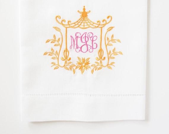 PAGODA IV MONOGRAM Embroidered Dinner Napkins, Linen Towels, wedding or hostess gift, bridal shower gift, kitchen towels